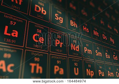 Dark Red Periodic Table 3D Rendered Illustration. Mendeleev Table Dark Concept. Science Theme.