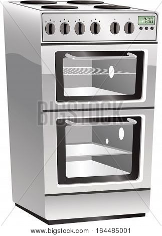 An illustration of a modern stainless steel finish electric cooker hob and oven.