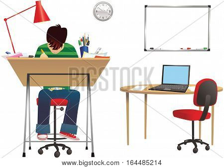 An illustration of a designer at his office desk. Plenty of blank space for your own message.