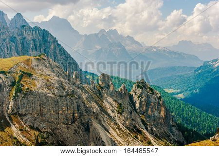 Dolomites Mountain Range Located in Northeastern Italy Europe. Scenic Dolomites Landscape.