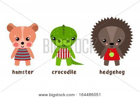 Hamster and crocodile, hedgehog cartoon characters. Urchin or porcupine, alligator or croc isolated, smiling baby animals in clothing. Funny wood and forest kid or child cartoon characters