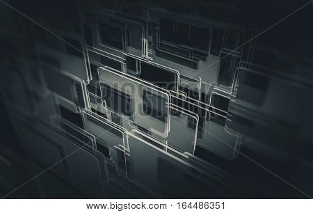 Glass Panels Background 3D Rendered illustration. Dark Glassy Panels Abstraction