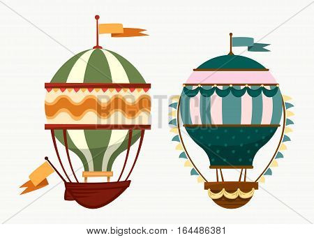 Hot air flying balloons with ballast and flag banner. Old striped airship transport. Outdoor sport and adventure, holiday leisure or recreation icon, travel and tourism, retro ballooning theme