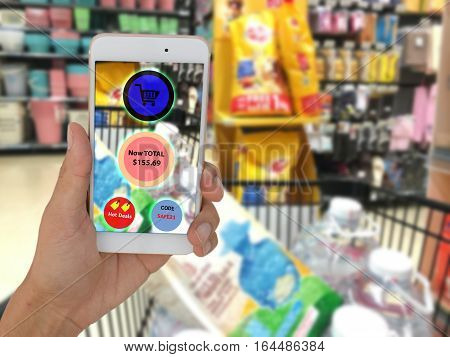 internet of things marketing conceptsRetailcustomer use augmented reality to show the summary total price of the all of product that collect in the cart and get a codehot deal