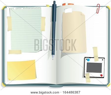 An illustration of a typical scrapbook with various blank pieces of paper for your own messages.
