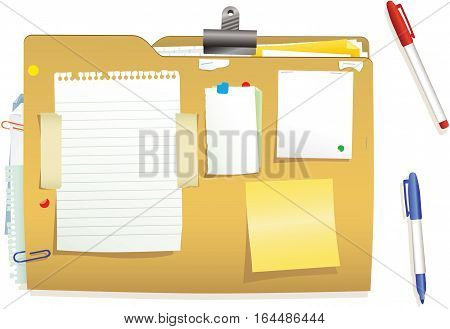 An illustration of a typical card document file and pens. Plenty of blank space for your own message.
