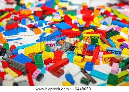 Plastic toy blocks, constructor foe kids, selective focus