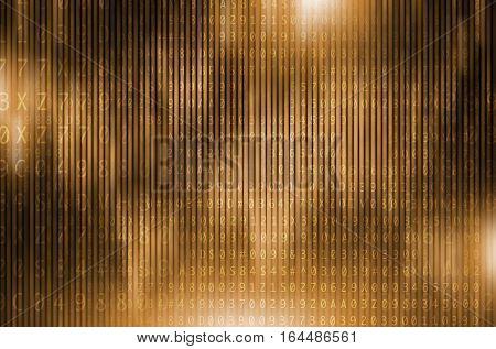 Golden Digital Encryption Conceptual Background Illustration. Digital Backdrop.