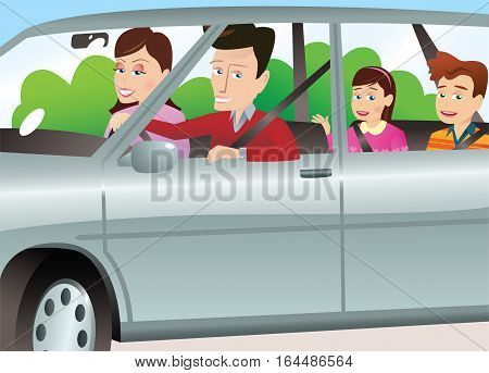 A young family going for a trip in their auto.
