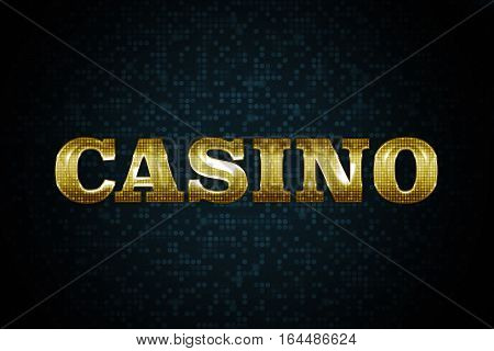 Golden Shiny Casino Sign on the Dark Pattern Background.