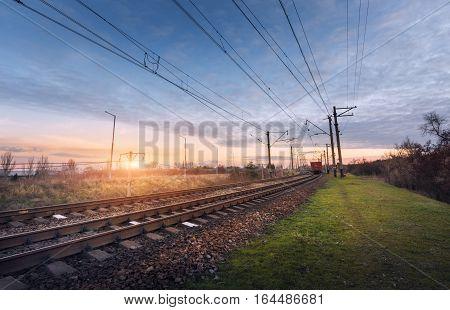 Railway Station Against Beautiful Sunny Sky. Industrial Landscape