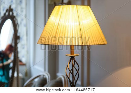 beautiful included Lampshade in bedroom with mirror on background