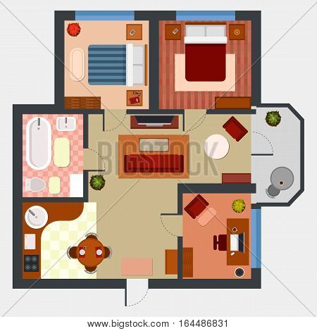Top view on apartment interior design. Technical plan of storeroom and living room, bathroom and toilet, kitchen and dining room, studio or hall. Indoor house or home architecture, floor designing