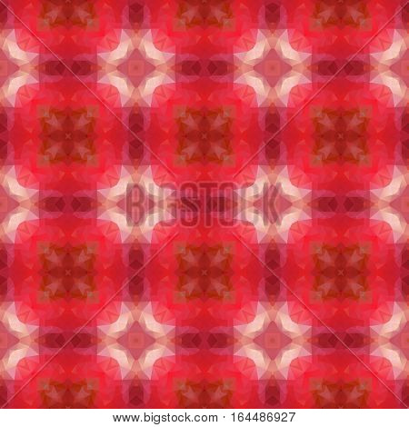 mosaic kaleidoscope seamless pattern texture background - red colored