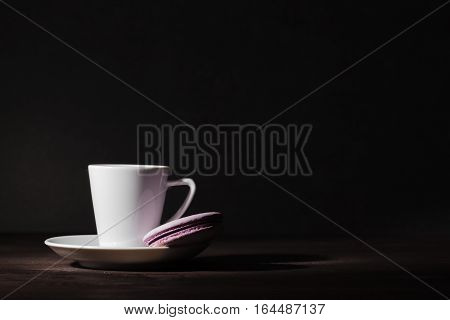 Alone Cup Of Espesso Coffee On Dark Style Black Background