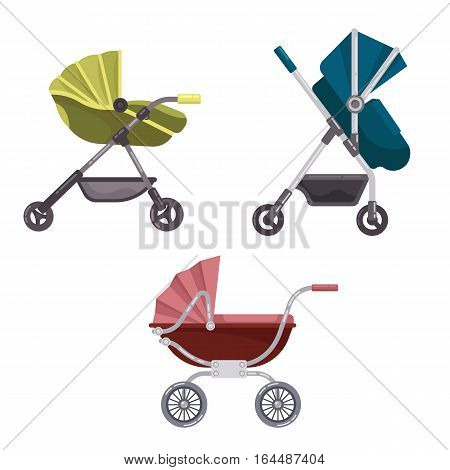 Set of folding stroller or buggy, baby carriage or child wagon, infant transport with wheels, pram icon, newborn or toddler go-cart. Family or parenting sign, maternal or mother walk, baby care theme