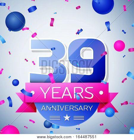 Thirty nine years anniversary celebration on grey background. Anniversary ribbon