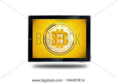 Mobile Bitcoin Trading. Cryptocurrency Bitcoin Symbol on a Tablet Device. Conceptual Illustration with 3D Rendered Elements.