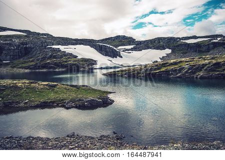Mountain Glacial Lakes Landscape. Crystal Clear Mountain Water. Mountain Landscape