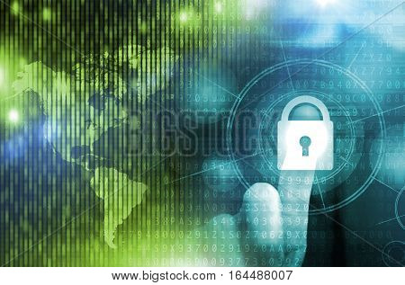 Network and Internet Safety Conceptual Illustration. Men Pressing Virtual Lock Button. Global Digital Data Safety Concept.