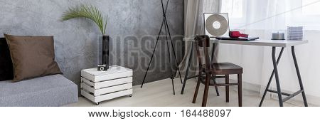 Interior With Table Made By Wooden Box