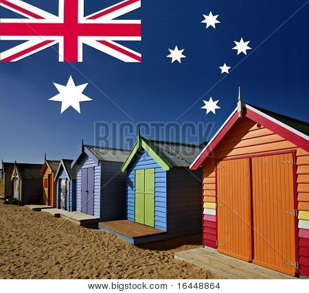 Colourful Bathing Boxes at Melbourne's Brighton Beach