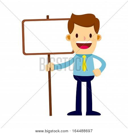 Vector stock of a businessman holding a blank sign board