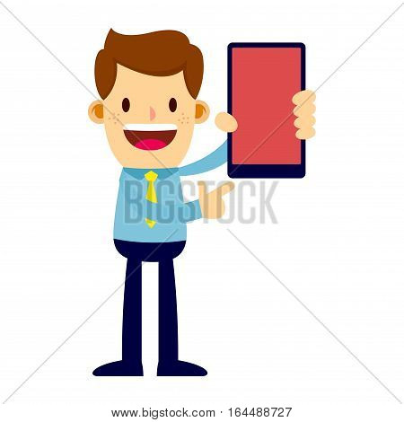 Vector stock of a businessman holding a smart phone and pointing at it
