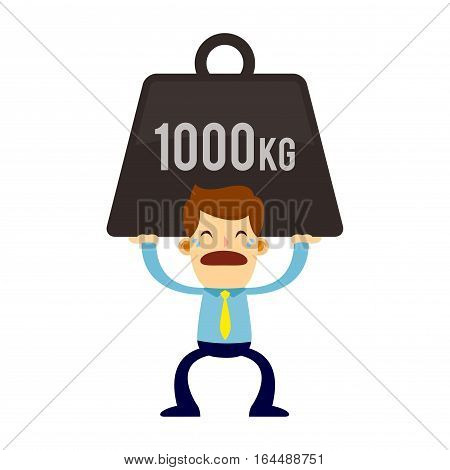 Vector stock of a businessman lifting a heavy burden while crying