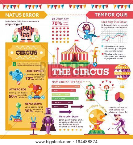 The Circus - info poster, brochure cover template layout with flat design icons, other infographic elements and filler text