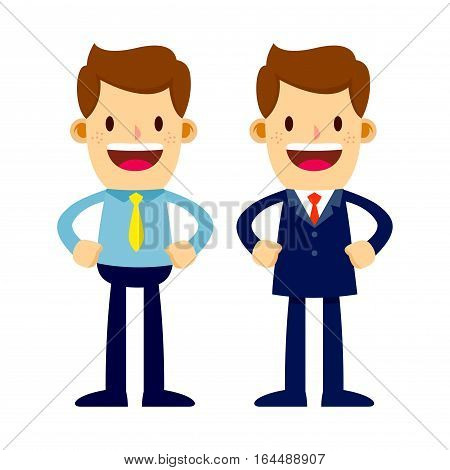 Vector stock of two businessman in suits and shirts standing smiling