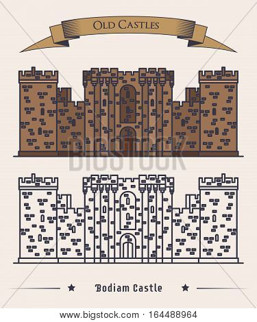 Moated Bodiam castle at England or United Kingdom. Old stronghold building or vintage fortress symbol, facade, palace exterior view, heraldic logo. Historical and landmark, tourism and travel theme