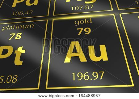 Periodic Table Golden Au. Mendeleev Table Closeup on Gold.