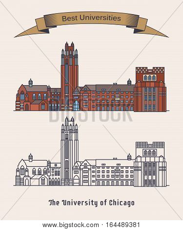 Architecture of University of Chicago or UChicago. Education old building exterior view, american postgraduate construction for professional education.National landmark, knowledge and science research