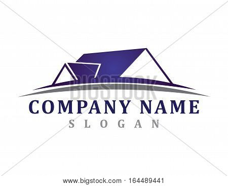 Real estate logo with blue an grey colors