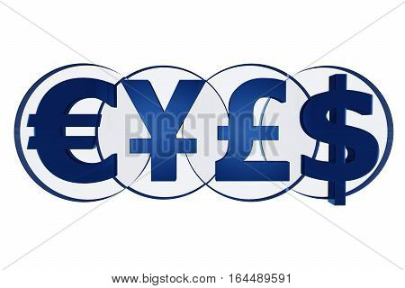 Powerful Currencies Symbols 3D Glassy Blue Illustration Isolated on White.