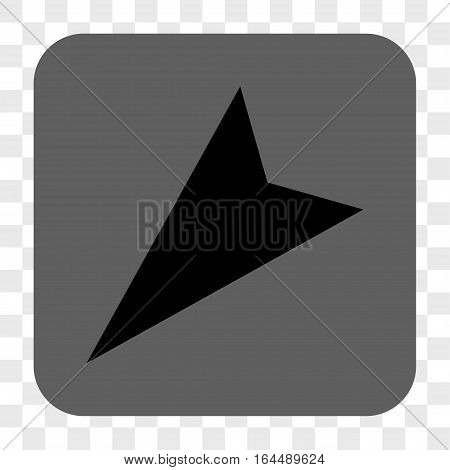 Arrowhead Left-Down interface toolbar button. Vector icon style is a flat symbol in a rounded square button black and gray colors chess transparent background.