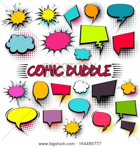 Empty comic collection colored cloud pop art vector box. Set message bubble speech cartoon expression illustration. Comics book background template.