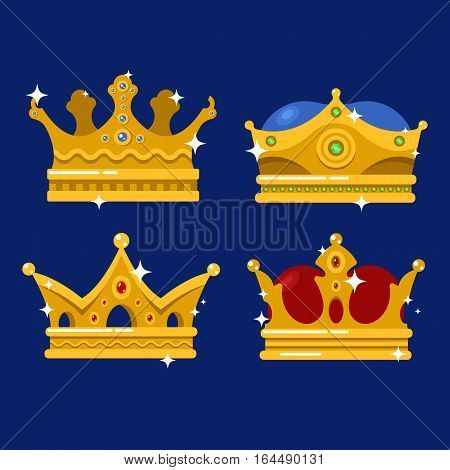 Emperor golden crown or monarch tiara. Queen and king, prince and princess royalty icon, pope heraldic retro headdress sign. Game award or price, wealth, monarchy and heraldry, jewelry theme