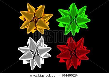 Shiny Gift Bows Isolated on Black Background. 3D Rendered Bows