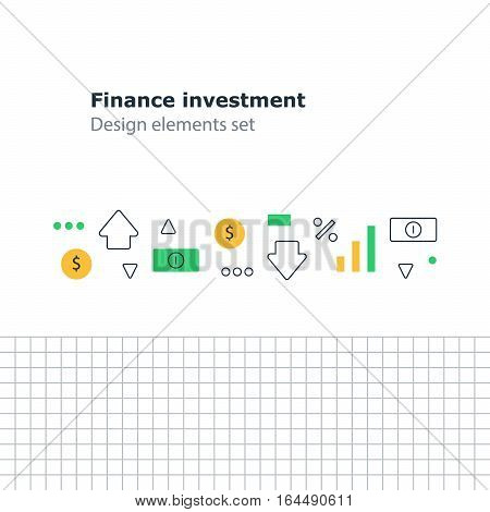 Income finance management concept, business education, money investment in stock market and index fund, flat linear design vector icons