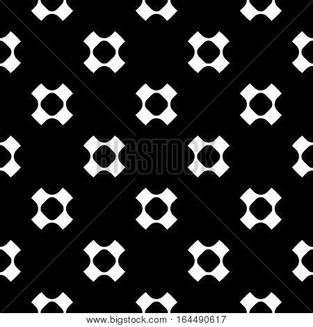Vector seamless pattern, simple monochrome minimalist background. White perforated crosses on black backdrop, rounded shapes, smooth lines. Modern abstract texture. Design for decoration, prints, textile, fabric, furniture, digital projects, web