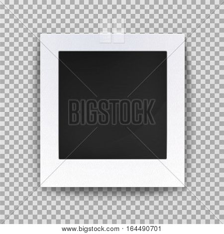 Old photo blank frame or empty image backdrop. Vintage square shaped camera portrait or picture on wall decoration framework. Gallery and family memory, photography theme