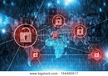 Unsafe Global Network Concept Illustration with Open Padlock Symbols. Unsafe Broken Network. Hacked Network.