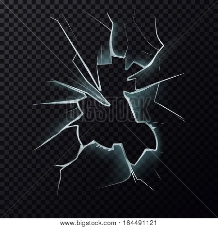 Hole in broken window with cracks. Screen damage or fracture background, shattered or crashed window backdrop, smashed or crushed surface of mirror. Burglary or damage, vandal and crime theme