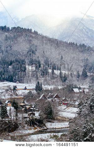 Shirakawa-go in Japan in the winter  japanese village Shirakawago located in Gifu Prefecture. Traditional village Japan's UNESCO World Heritage