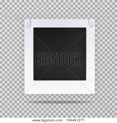 Isolated photo frame or blank picture. Old style decoration for photo backdrop, empty photography background in retro. Vintage photo picture or portrait design background, square frame for snapshot