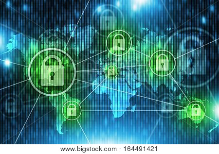 World Network Safety Concept with padlocks. Global Internet Network Modern Technology Illustration.