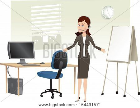 A business woman calling on her telephone headset while standing in an office. Blank monitor screen and note pad for your own message.