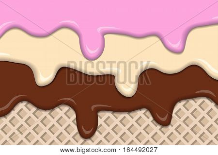 Different ice creams with wafer vintage abstract. Vector illustration